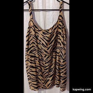 Plus Size 4X Tiger Stripe Print Babydoll Tank Top